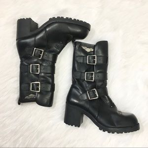 Harley Davidson Black Buckle Leather Riding Boots